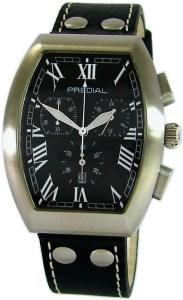 Predial Tonneau Chronograph Edelstahl gebürstet Zifferblatt und Lederband schwarz geschütztes Design DPMA Nummer 402017201723-0008.1