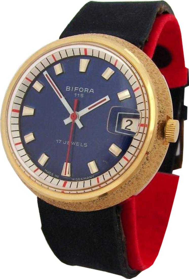 Bifora 115 Made in Germany klassische Herrenuhr blau vintage mens watch 17Jewels