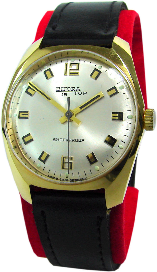 Bifora 15 Top Germany kleine Handaufzug Armbanduhr silber schwarz gold Leder