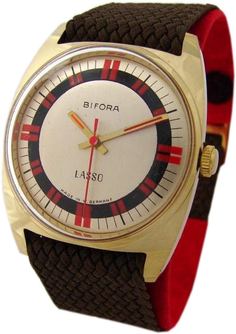 Bifora Lasso Handaufzug Herrenuhr gold rot Made in Germany Textilband mens watch