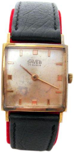 Saveb Carre mechanik Herrenuhr Lederband schwarz gold Carre mens watch 17Jewels