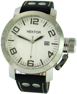 HEKTOR U Boot Made in Germany XL Herrenuhr 45mm Leder Schraub Krone Datum 10bar