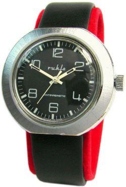 Ruhla Handaufzug Made in GDR mechanische Herrenuhr schwarz Lederband mens watch