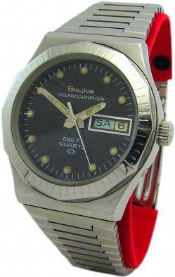 Bulova Oceanographer Tages- & Datumsanzeige Herrenuhr Quarz Edelstahl Uhrband
