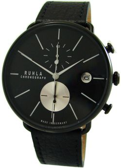 Ruhla Chronograph Herrenuhr Quarz Edelstahl schwarz Lederband Made in Germany