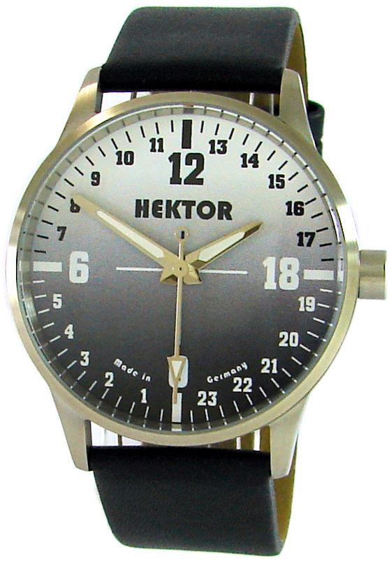 HEKTOR 24h Germany Edelstahl Herrenuhr echte 24 Stunden 24 hour dial 5ATM 42mm