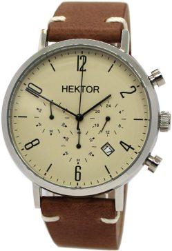 HEKTOR design Chronograph Herrenuhr Quarz creme vintage Lederband braun 42mm