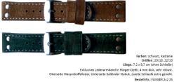 HEKTOR dickes Wasserbüffel Lederarmband in Flieger-Optik verschiedene Farben lieferbar von 20mm und 22mm Bandanstoß