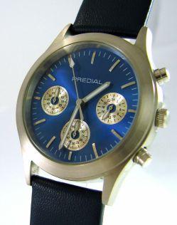 PREDIAL unisex Chronograph Quarzuhr Edelstahl feines Lederband blau silber 38mm
