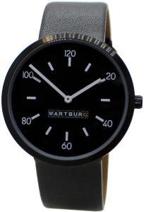 Wartburg Unisex Armbanduhr Stahl mit Lederband elegant flach schwarz 468
