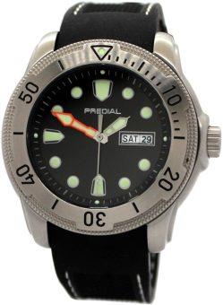 PREDIAL 50BAR Herren Taucheruhr Quarz Edelststahl Silikon Uhrband schwarz Datum