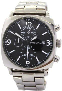 PREDIAL Herrenuhr XL schwerer Chronograph Edelstahl Uhrband poliert schwarz