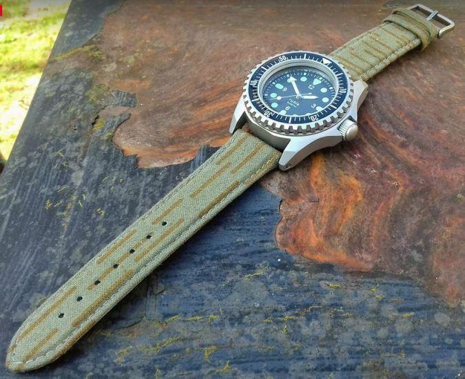UMF® Uhrbänder aus NVA Zeltstoff upcycling Uhrband aus alten Armee Zelten der NVA im Tarnmuster ein strich kein strich