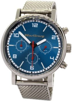 Wartburg Chronograph Herrenuhr Quarz blau Edelstahl poliert Milanaiseband