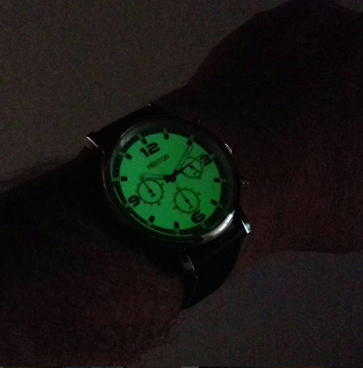 HEKTOR Herrenuhr Chronograph mit Leuchtzifferblatt in der Dunkelheit