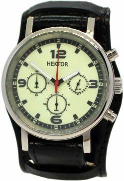 HEKTOR Leuchtblatt Quarz Chronograph Herrenuhr mit Bund Unterlagenband Leder