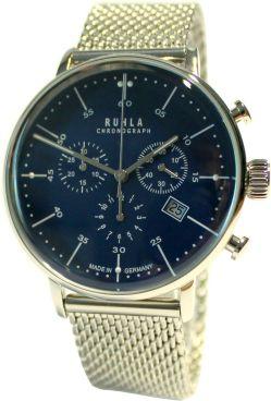 RUHLA Chronograph Herrenuhr blau extra dickes HEKTOR Milanaiseband Bauhaus Stil