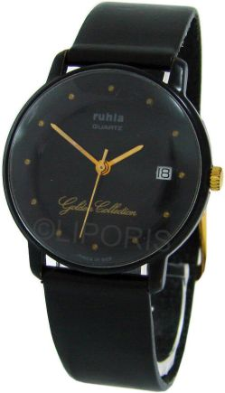 Ruhla Golden Collection rare DDR unisex Quarz Armbanduhr GDR Datum schwarz