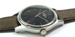 AureA swiss made Damen Quarzuhr Edelstahl Uhrband Leder braun schwarz