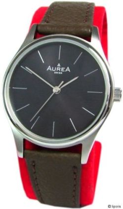 Aurea Damen Uhr swiss made Quarz Edelstahl Lederuhrband braun schwarz silber 31mm