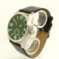 Garde Ruhla Uhren Herrenuhr Edelstahl Glas grün kleine Sekunde Lederband schwarz