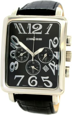 pallas Chronograph Made in Germany Herrenuhr Stahl Quarz Uhrband Leder schwarz