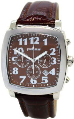 pallas Made in Germany Herrenuhr Chronograph Quarz Lederband braun rot 42mm