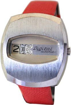 Digital Automatic Herrenuhr Scheibenuhr Digitale Uhr springende Stunde 70er vintage direkt read watch