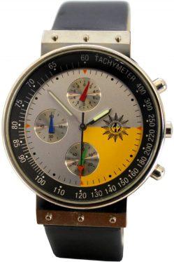 GdP Polizei Uhr Chronograph Tachymeter Stoppuhr Lederband schwarz