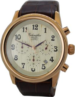 Eichmüller Chronograph Herren Armbanduhr 10 ATM Datum 24 h Stunden Anzeige rose Lederband braun kroko optik