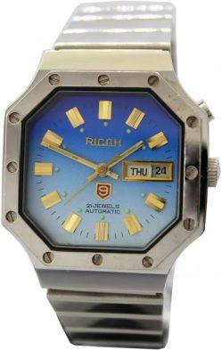 Ricoh Automatic Armbanduhr 21 Jewels Zifferblatt blau 8 eckiges Gehäuse Edelstahl silber unisex