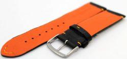 HEKTOR Herren Uhrenarmband aus Elch - Leder schwarz Naht und Futterleder orange 22mm