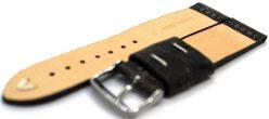HEKTOR Herren Uhrenarmband Kamel Leder grau schwarz Naht weiß 22mm