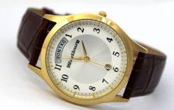 Wartburg Tag Datum Unisex Armbanduhr mit bicolor braunem Lederband