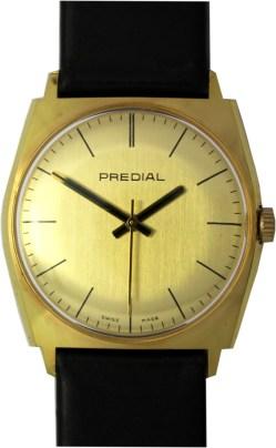Predial Herrenuhr swiss made Handaufzug Uhrenarmband Leder neu schwarz 33mm