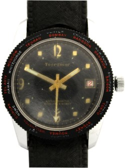 Terramar Herrenuhr Swiss Made Handaufzug Weltzeitlünette Datum vintage Taucher Uhrenarmband schwarz 36mm
