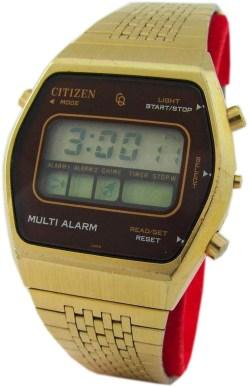 Citizen Multi Alarm LCD 40-1081 digital GN-4-S Herren Armbanduhr digital Stoppuhr Metall gold 36mm x 40mm gebraucht