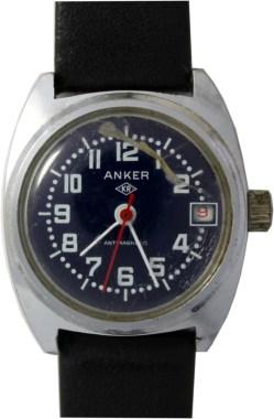 Anker Damenuhr mechanisch Ziffernblatt blau Datum rot Lederband schwarz neu 28mm