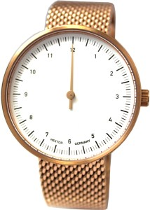 HEKTOR eins.eins Einzeiger Uhr Quarz Edelstahl rose Milanaiseband 40mm