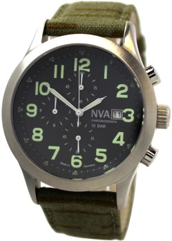 NVA Herrenuhr Chronograph Edelstahl 42mm Made in Germany Uhrband Tarnmuster 10BAR 100m