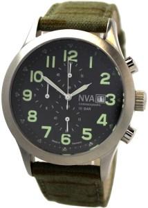 NVA Herrenuhr Chronograph Edelstahl 42mm Made in Germany Uhrband Tarnmuster 10BAR 100m