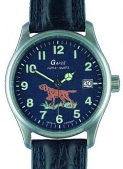 Garde Ruhla Jagduhr Motiv Hund Edelstahl Lederband schwarz Classic Universal 36-88