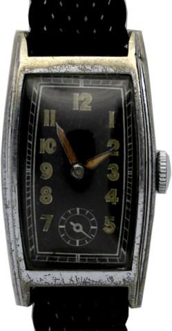 Damen Armbanduhr Handaufzug vintage art deco Textilband zeitgenössisch schwarz 19mm x 29mm gebraucht