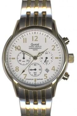 Garde Ruhla Herren Quarz Chronograph Titan Uhr Saphirglas bicolor 10 atm 40mm Chrono 11933S