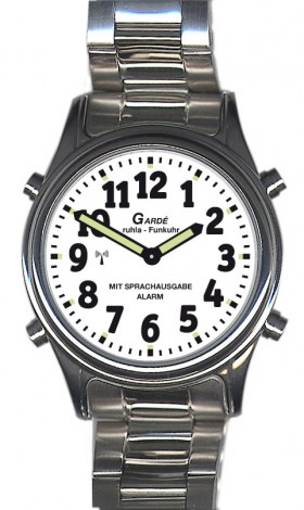 Garde Funkuhr Zeitansage für Sehbehinderte Blindenuhr Edelstahl Zugband visually impaired RC-watch 1138-5M 36mm