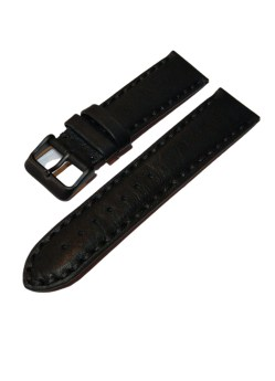Herren Uhrenarmband Leder schwarz leicht gepolstert dicke Naht 22mm