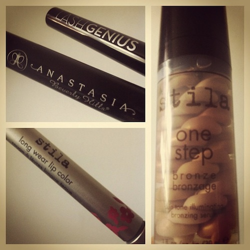 Stila one step bronzer to lift and illuminate with Stila long wear lip color and Anastasia of Beverly Hills Lash Genius