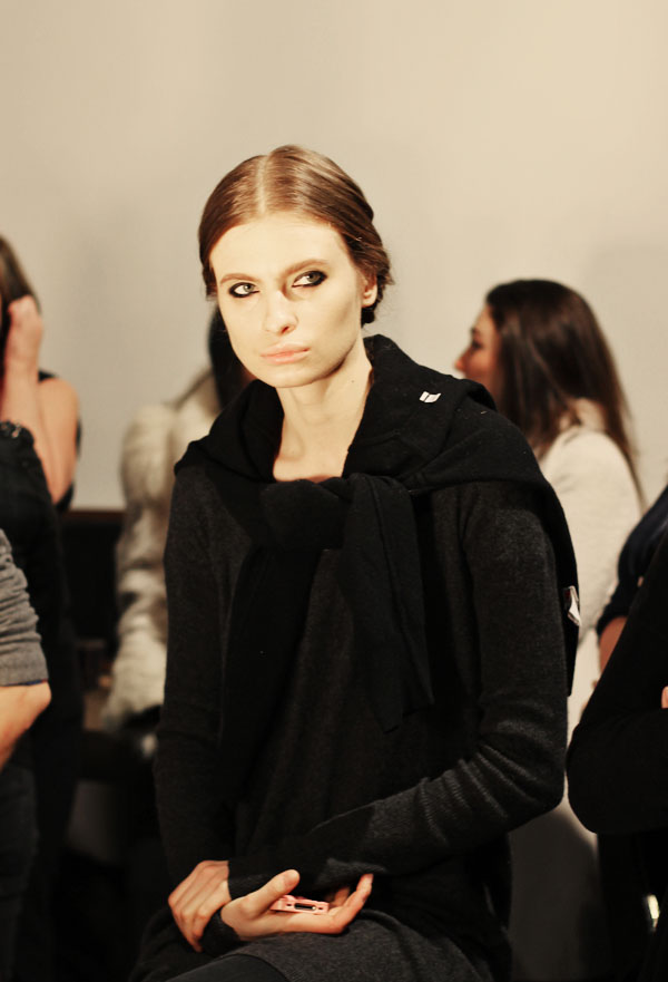 Backstage at Christian Siriano at Mercedes Benz Fashion FW 2013. Beauty by Aveda