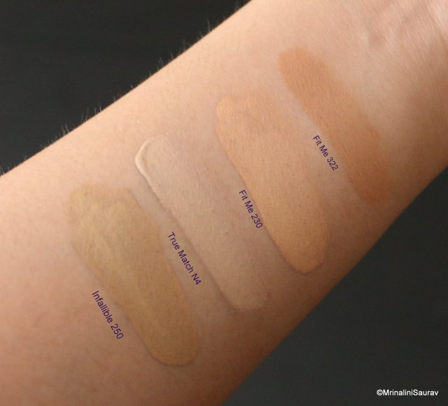 Maybelline Fit Me Loreal True Match Infallible Comparison Swatches