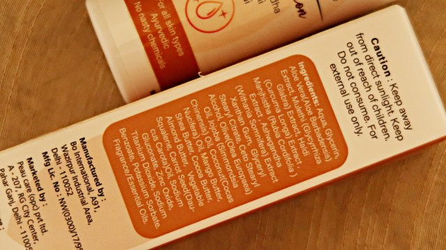 Peau Care Body Lotion ingredient list